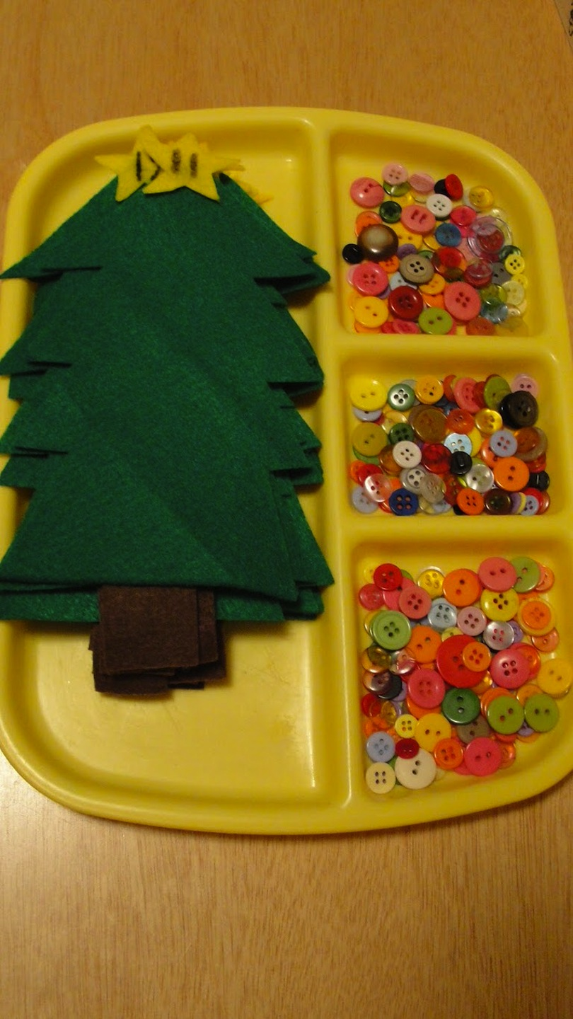 Felt and button christmas tree crafts