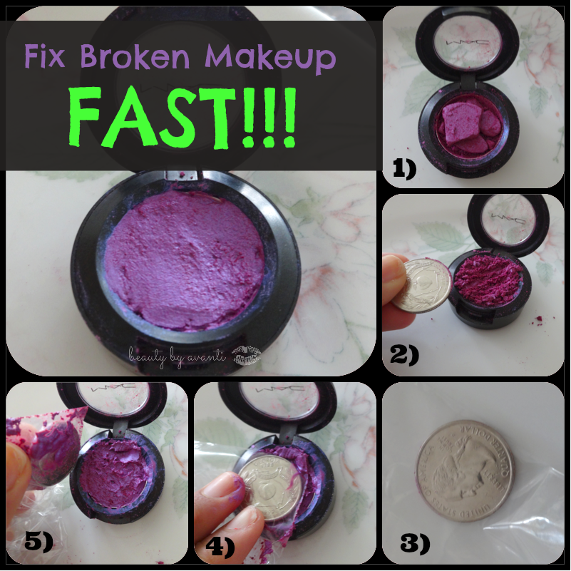Fix broken eye shadow with a quarter