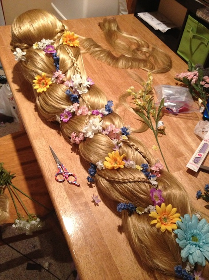 Flowered raunzel braid