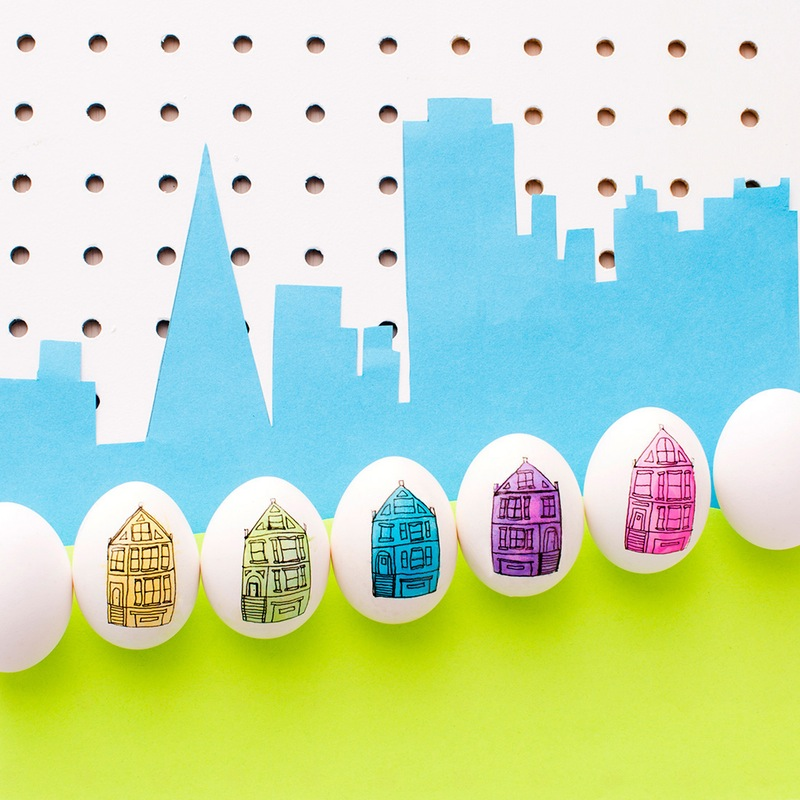 Full house city inspired easter eggs
