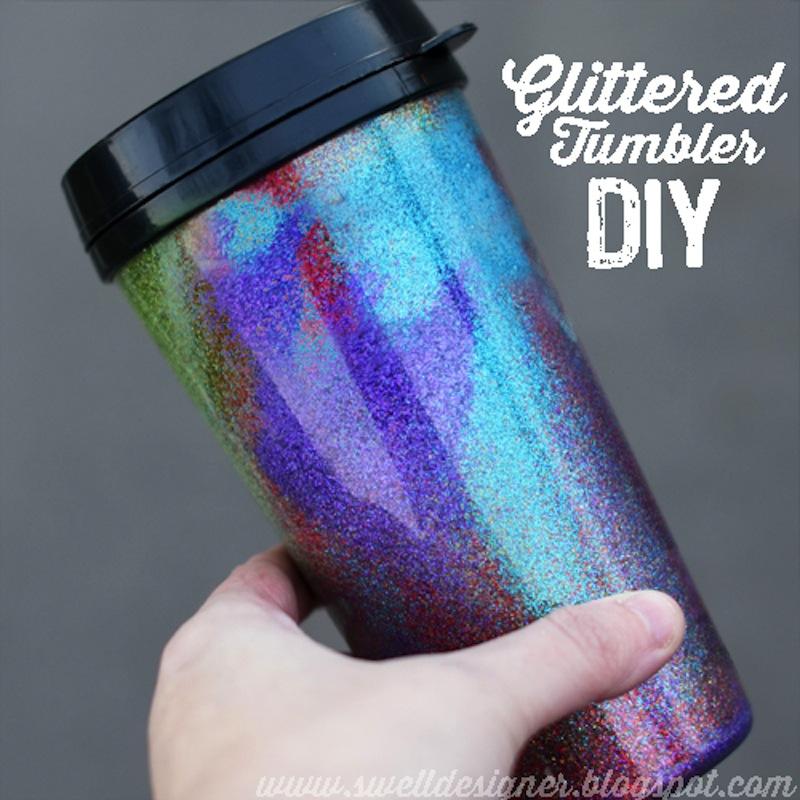 Glittered coffee tumbler