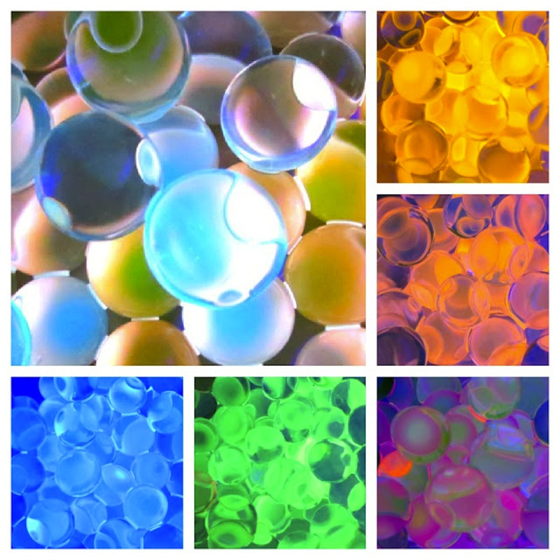 Glowing rainbow water beads