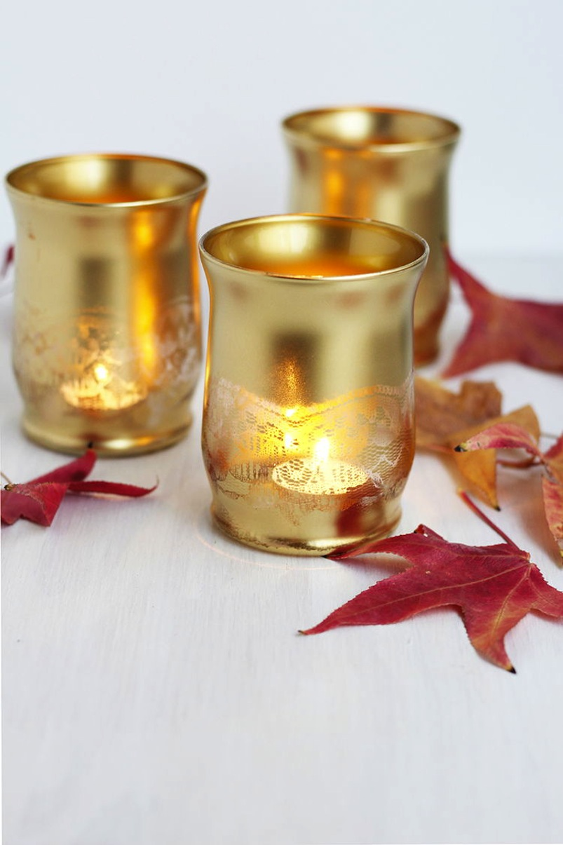 Gold lace stencil tea light holder