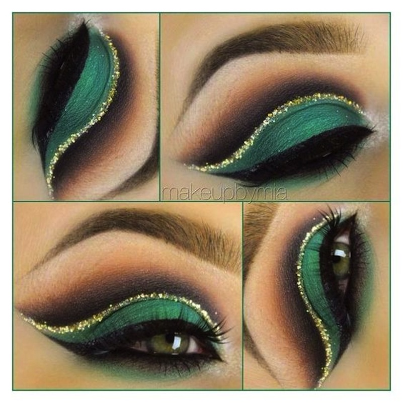 Green smokey eye and gold glitter crease
