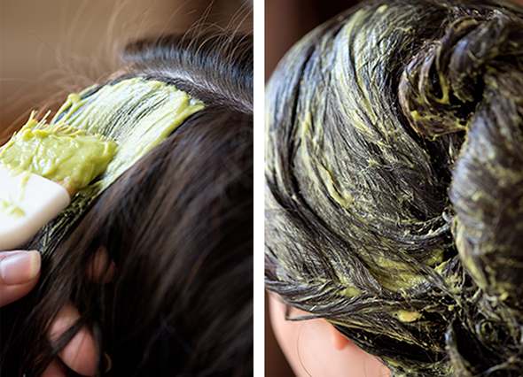 Hair mask with avocado and coconut oil