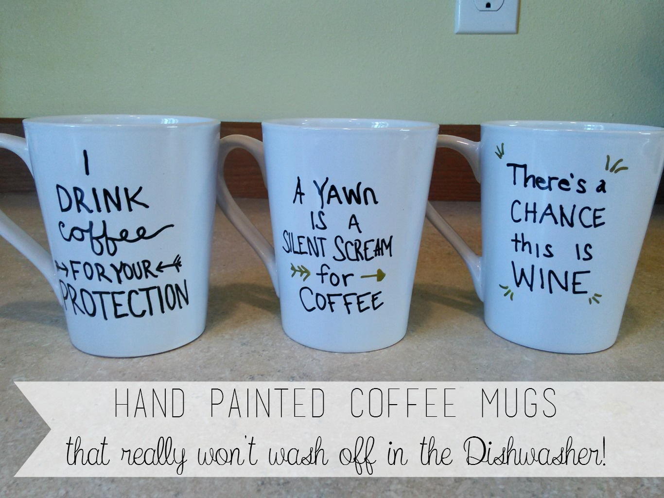 Hand painted quote mugs