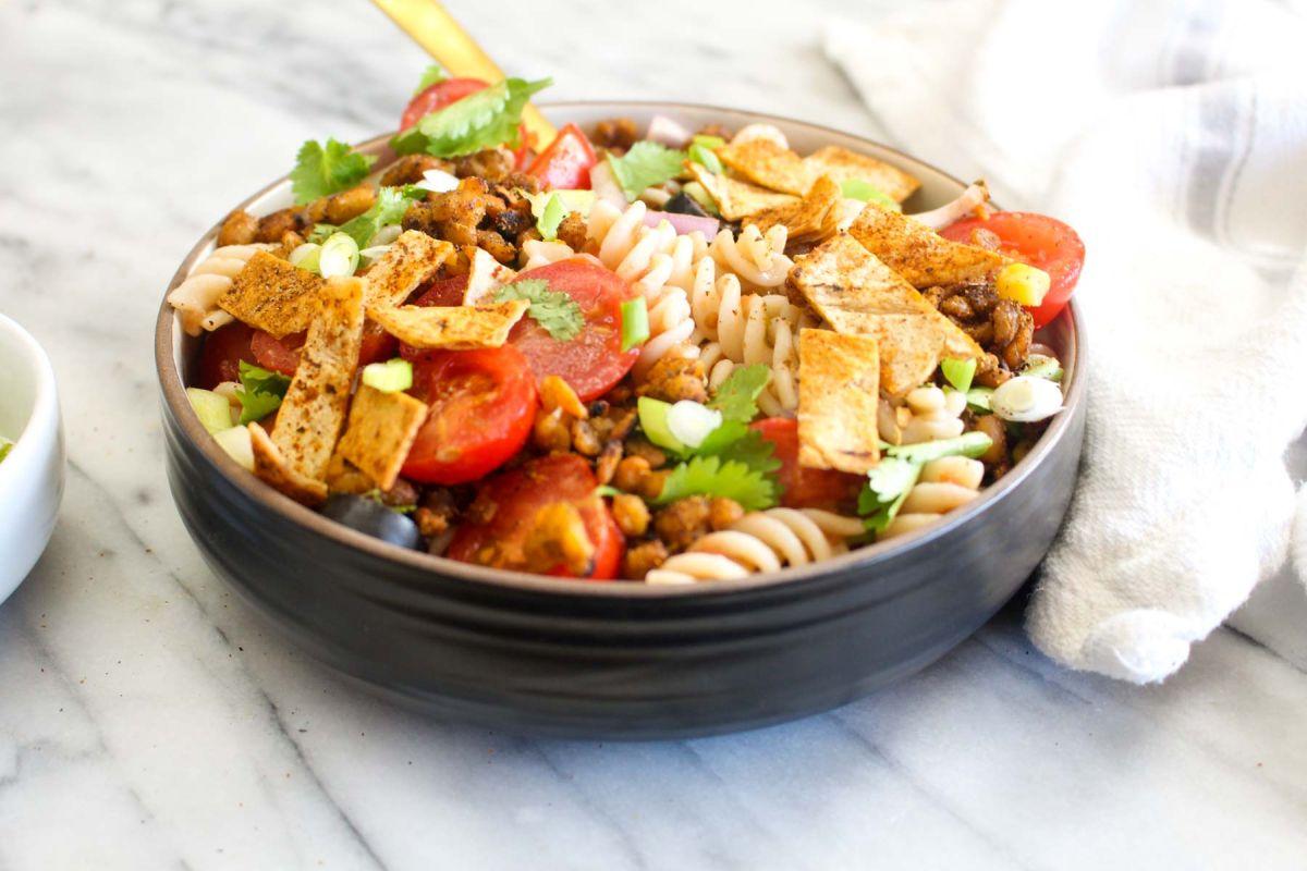 Healthy taco pasta salad recipe