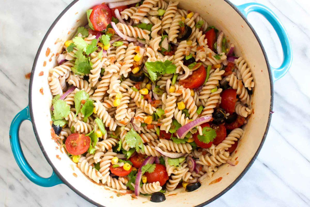 Healthy taco pasta salad add ingredients