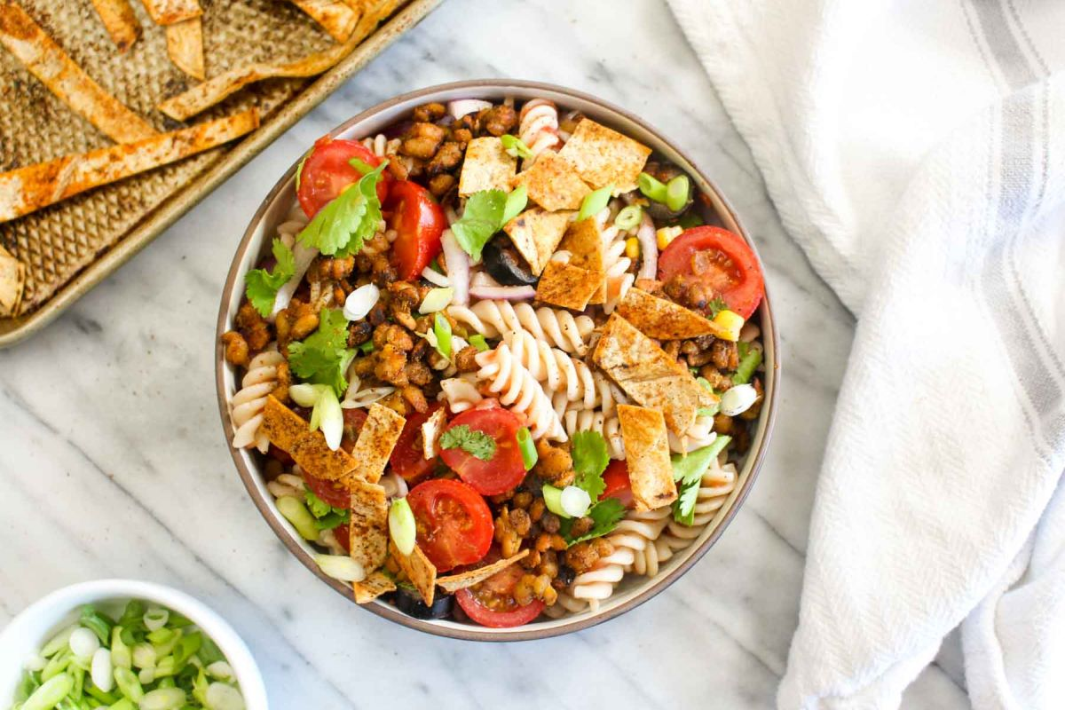 Healthy taco pasta salad strips