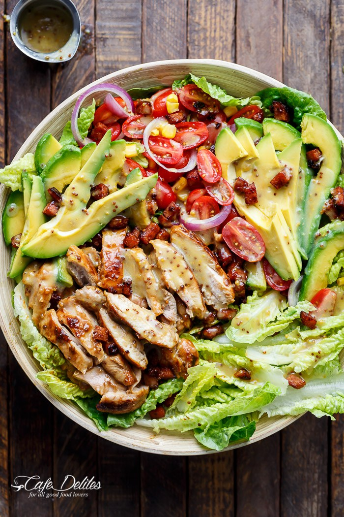 Honey mustard chicken bacon avocado salad 39