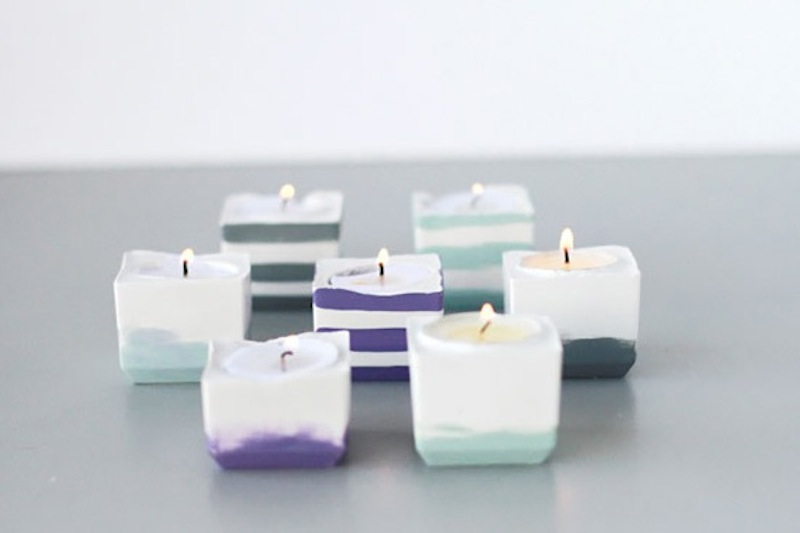 Ice cube tray votive holders
