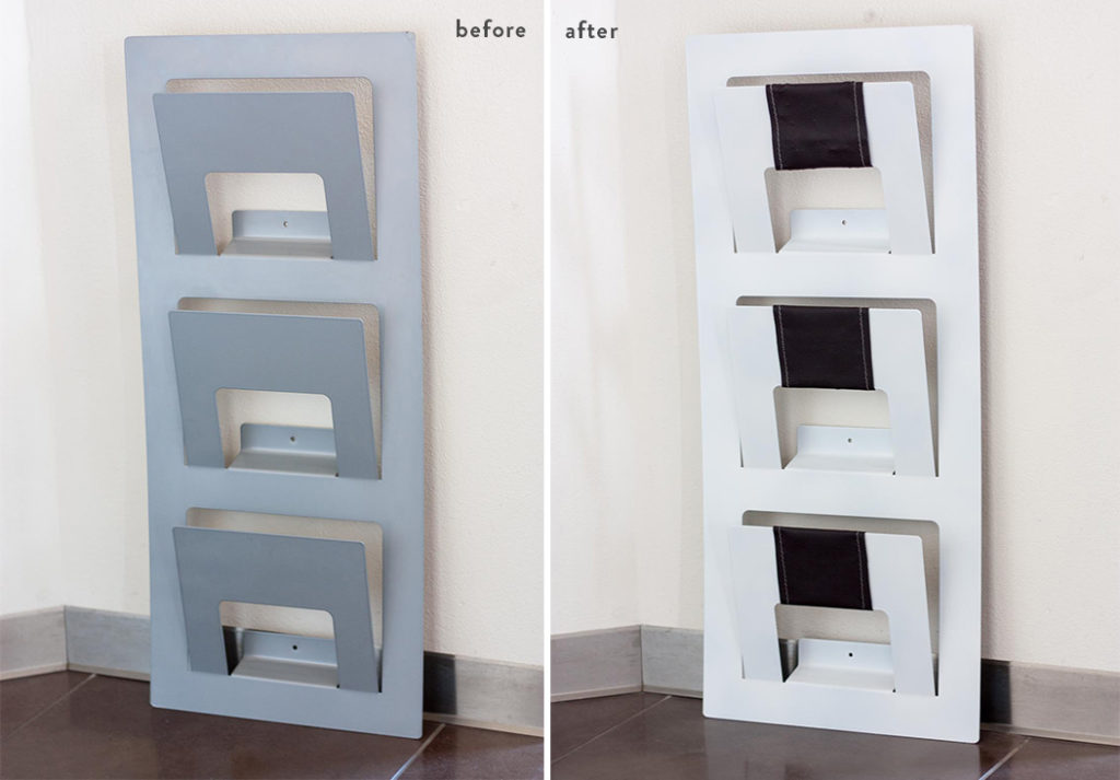 Ikea hack magazine rack before and after