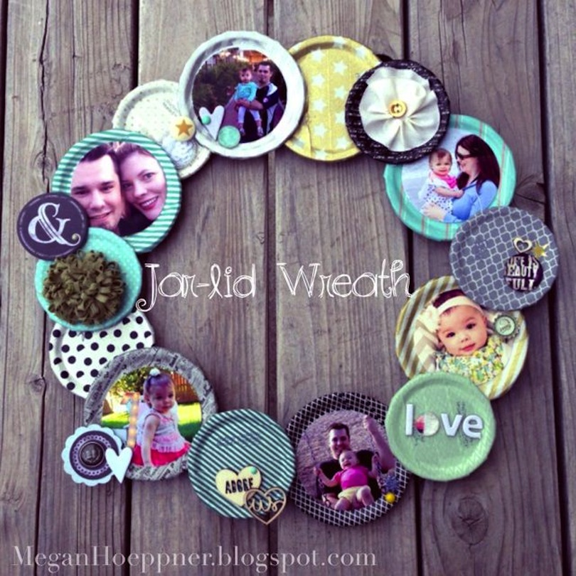 Jar lid photo wreath
