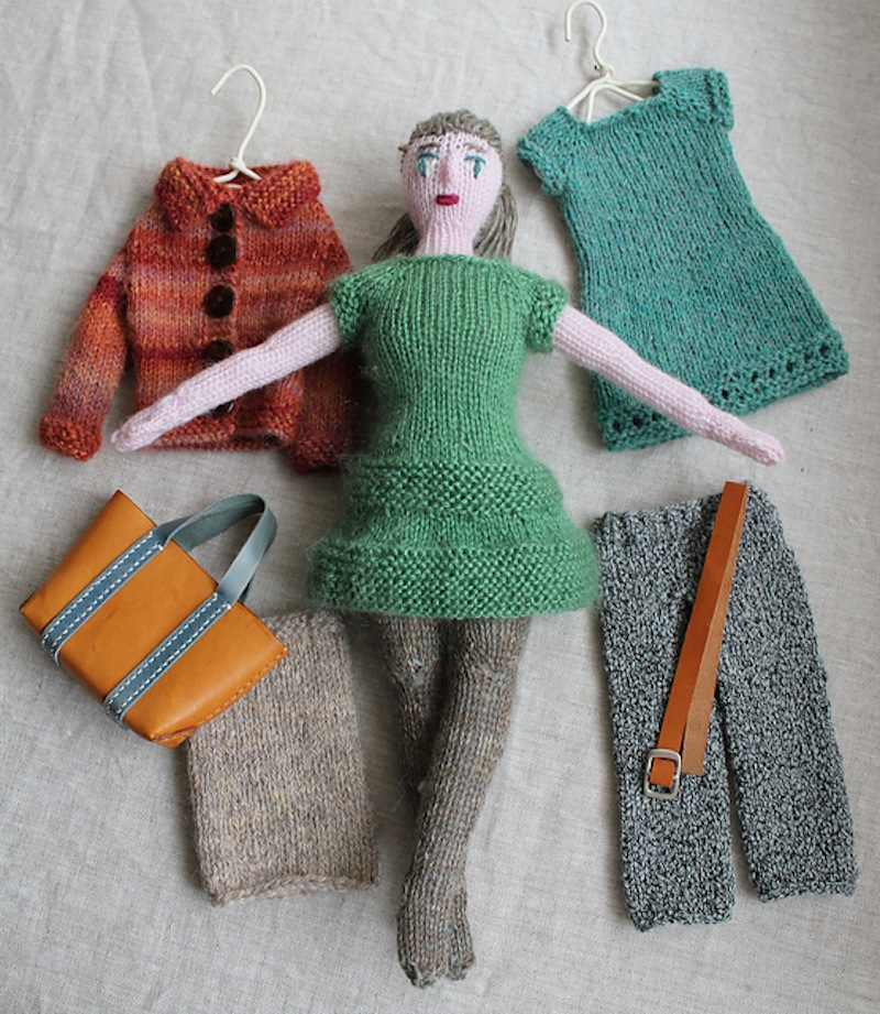 Knitted doll with clothing