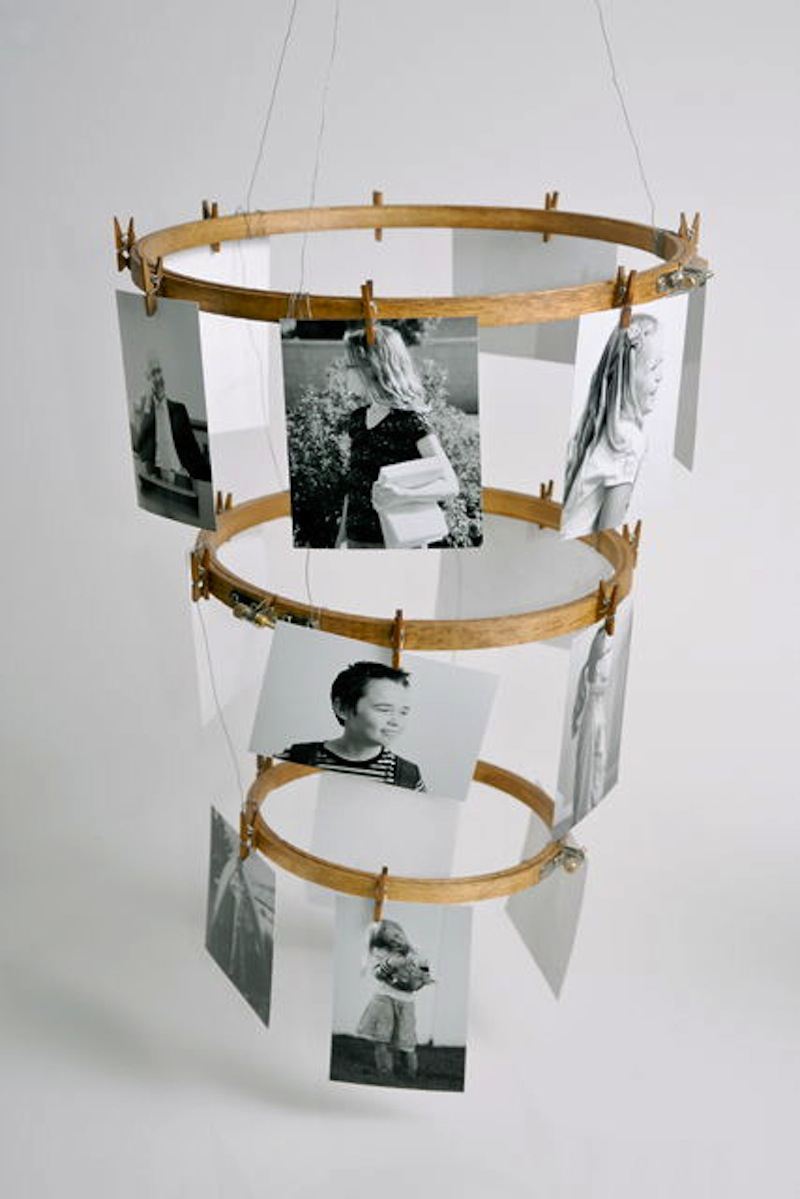 Layered embroidery hoop photo hanger