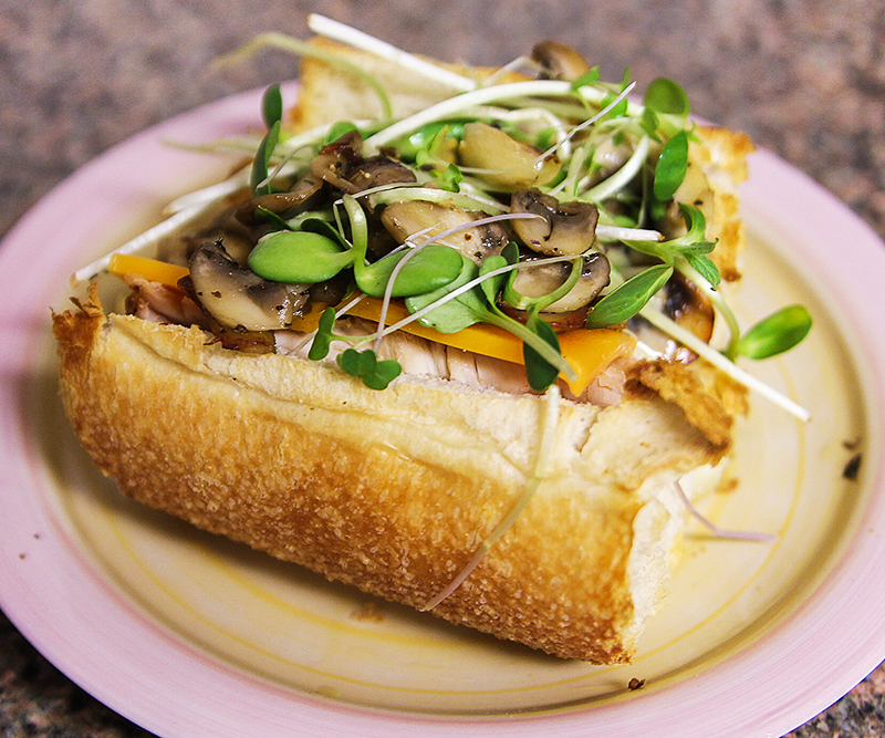Leftover chicken sandwich with sauteed mushrooms