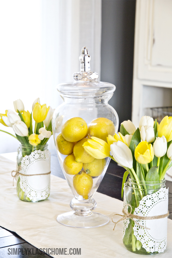 Lemon filled apothecary jar centerpiece