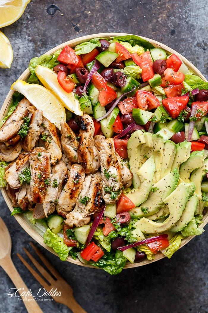Lemon herb mediterranean chicken salad 208