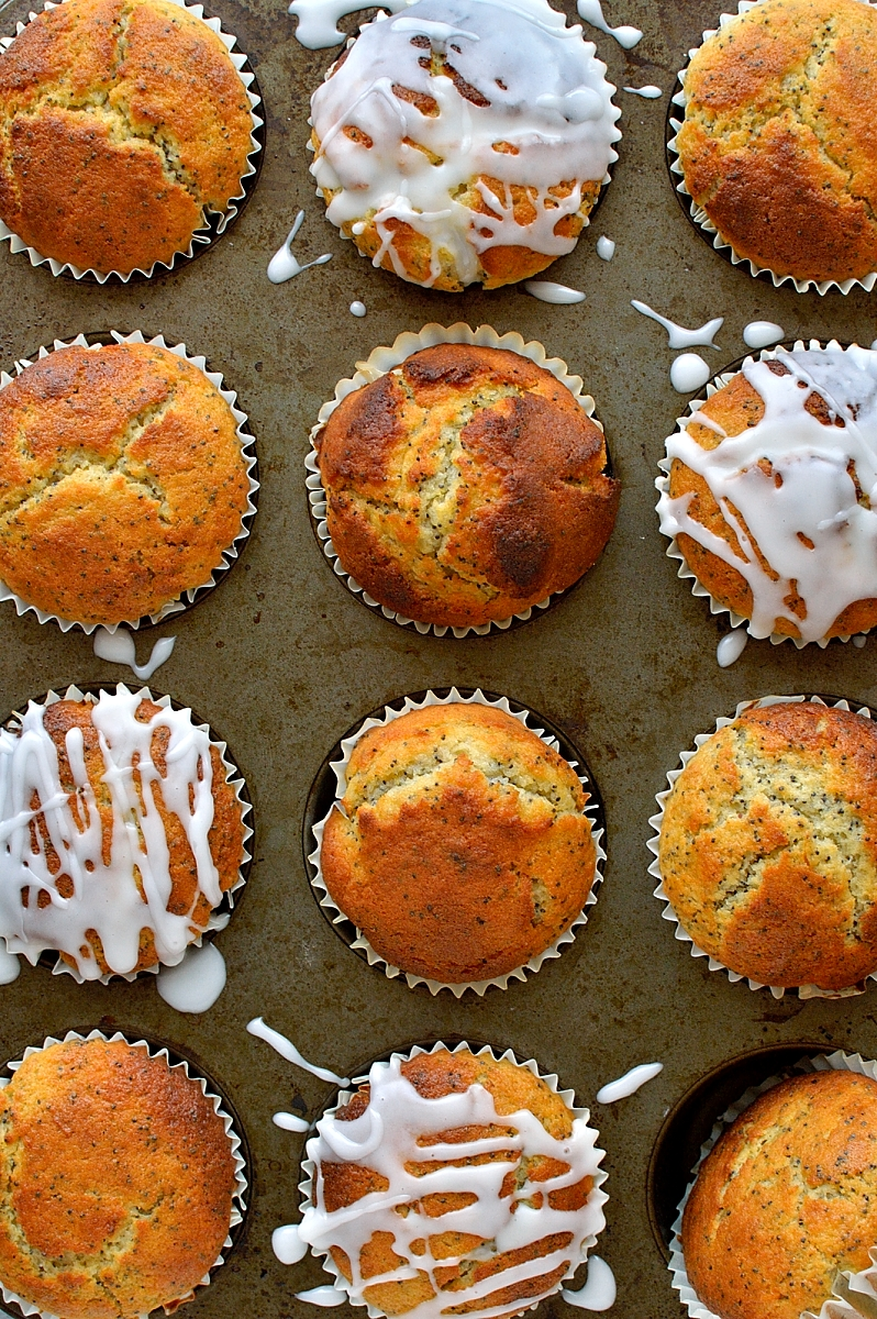 Glazed lemon poppy seed muffins - the classic zingy, lemony muffin; easy to make and sure to brighten up any morning!