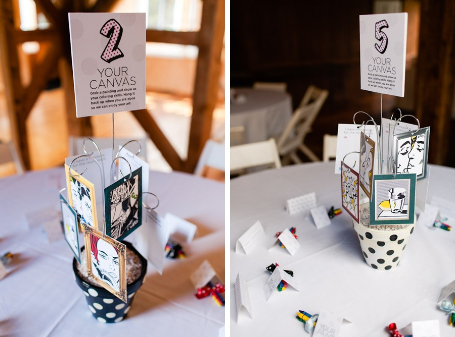 Lichtenstein comic inspired table numbers