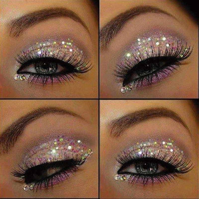 Light pink and white glitter lid