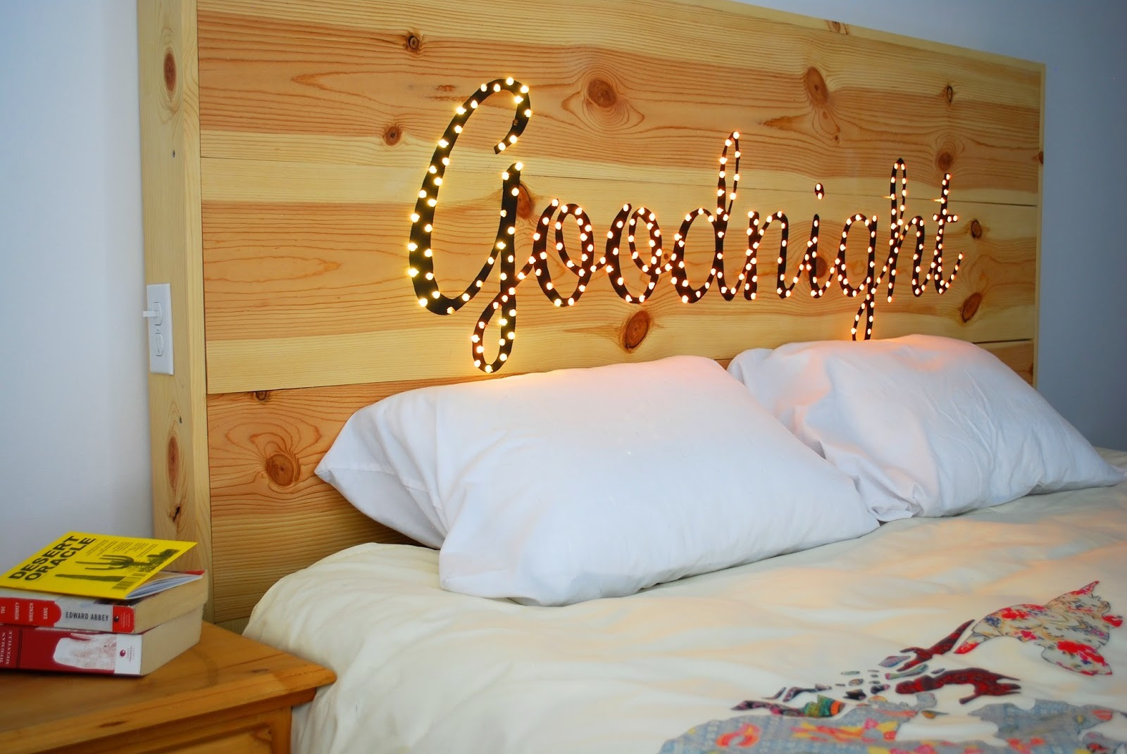 Light up cursive headboard