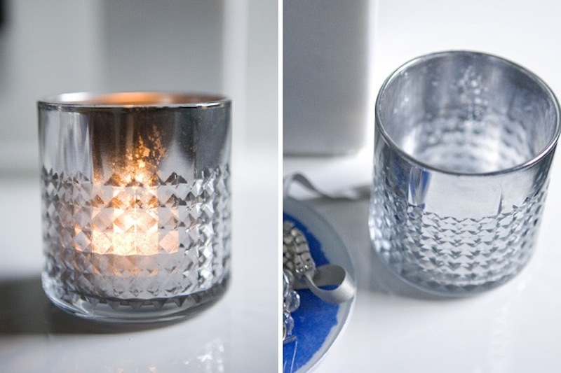 Metallic finish mercury candle glasses