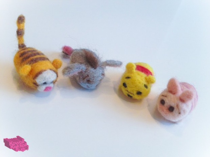 Miniature felted tigger, eeyore, and piglet