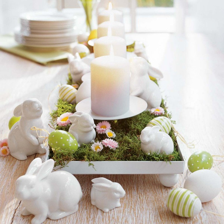 Moss and egg centerpiece diy