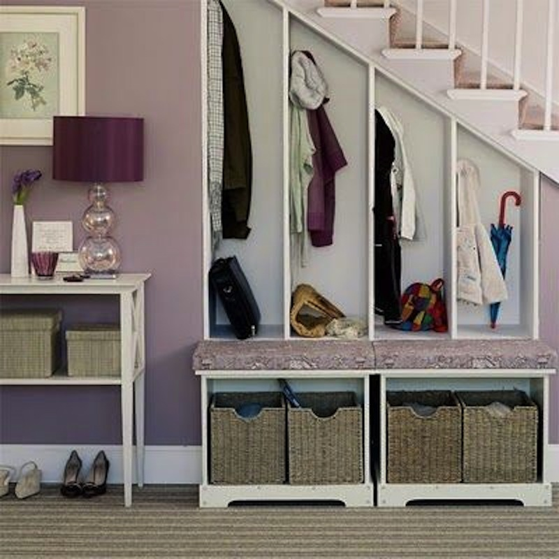 Mudroom under the stairs