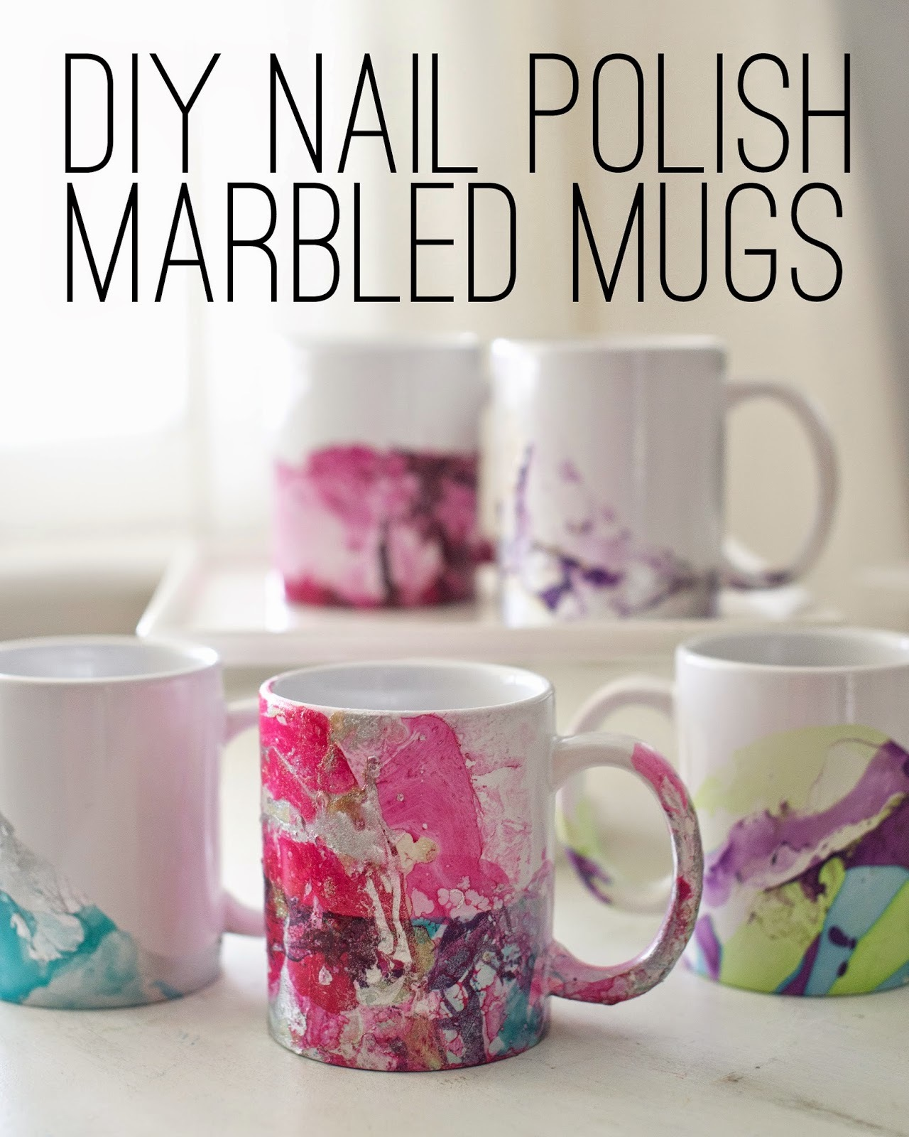 Nail polish marbled mugs