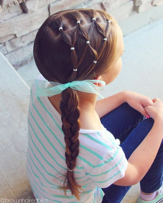 Netted side braid toddler hairstyle