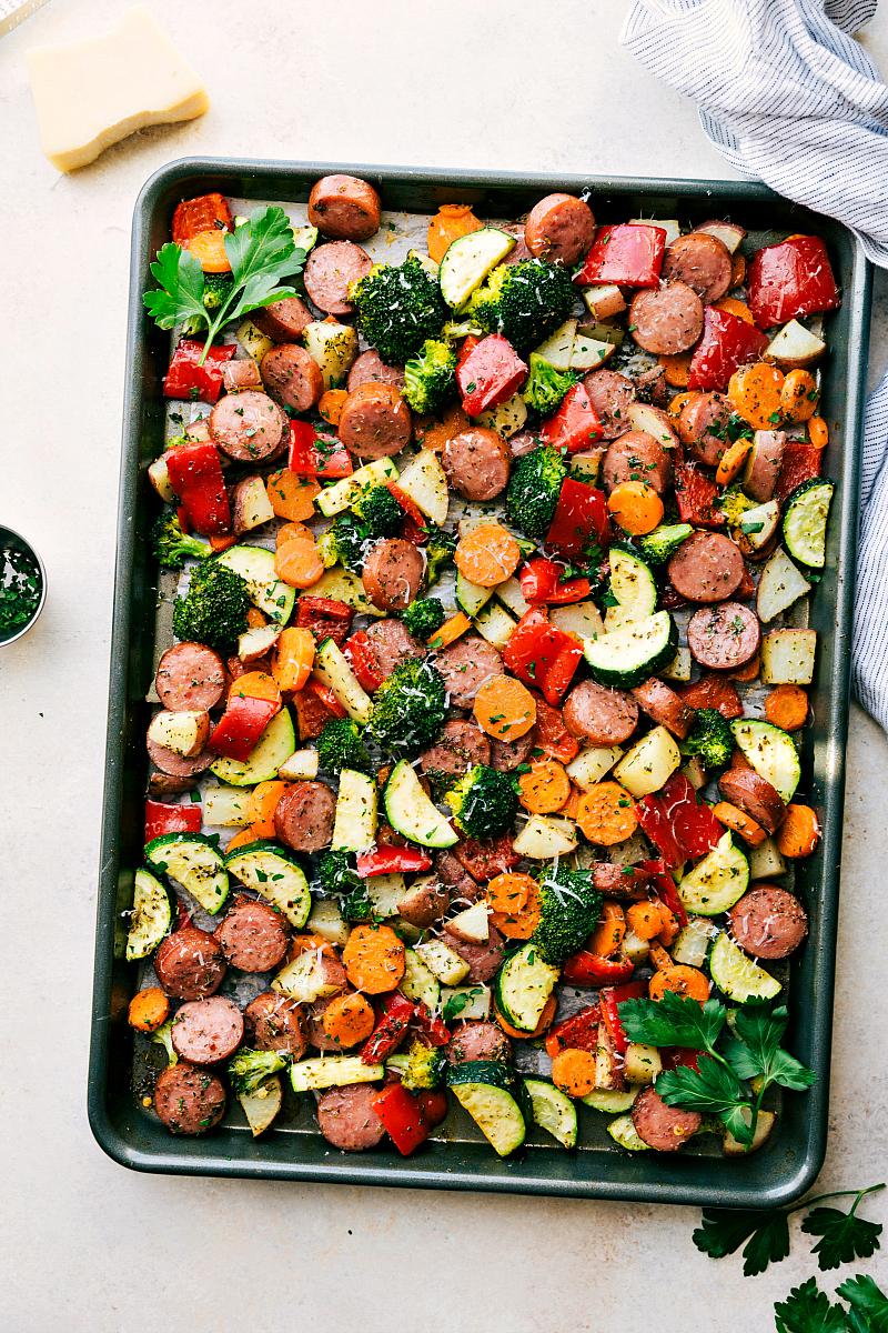 One pan sausage veggies with parmesan