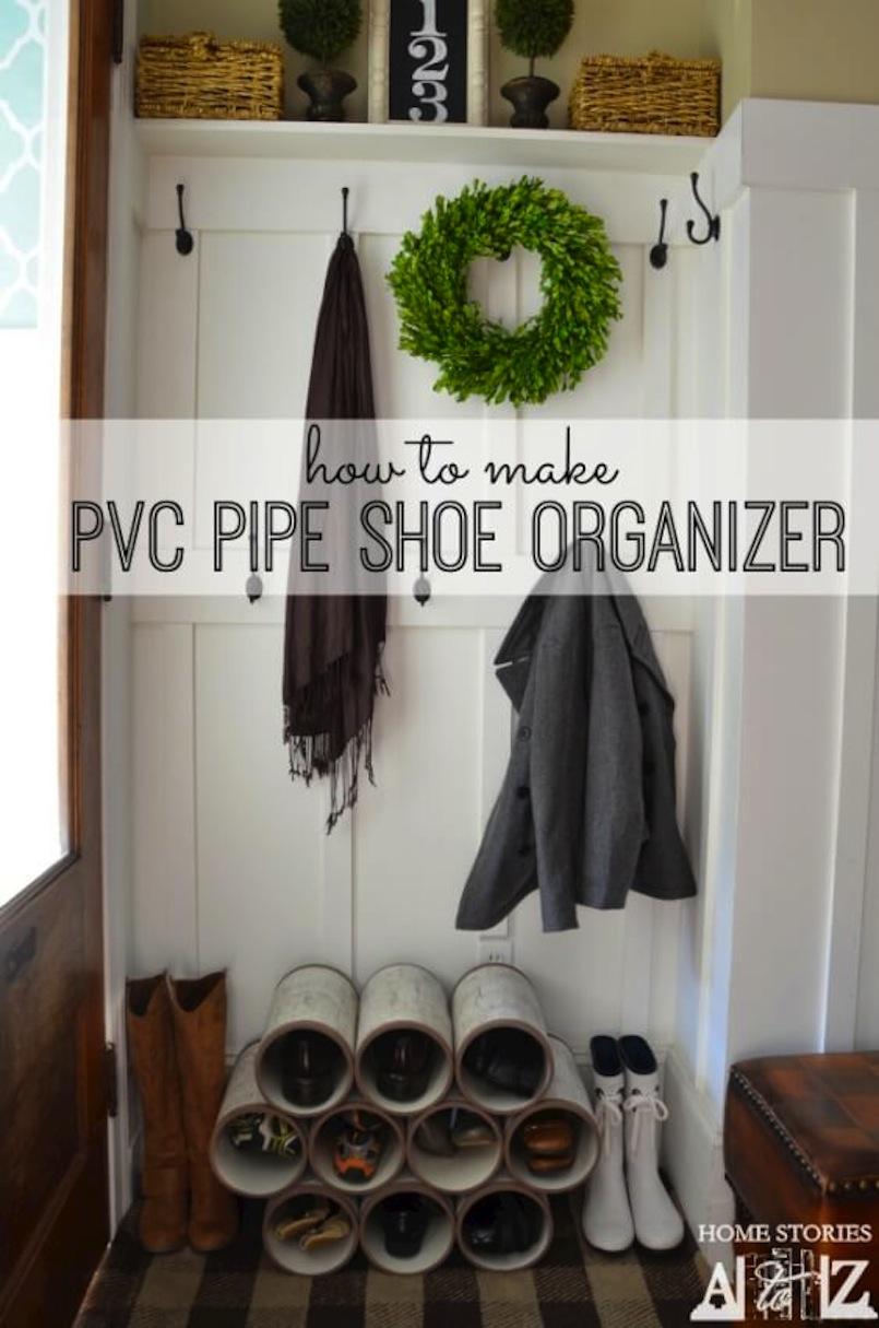 Pvc pipe shoe organizers
