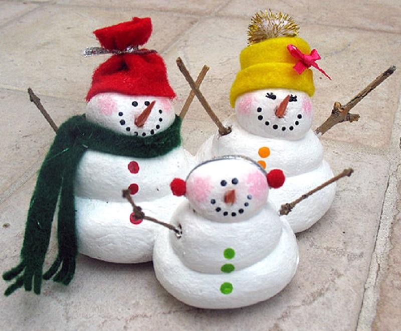 Painted salt dough snowmen