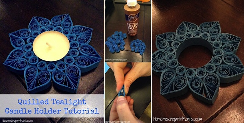 Paper quilled tea light decor