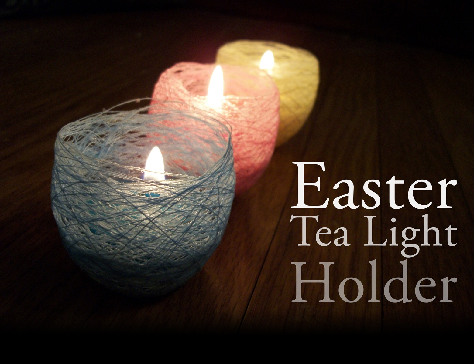 pastel easter nest tea light holder