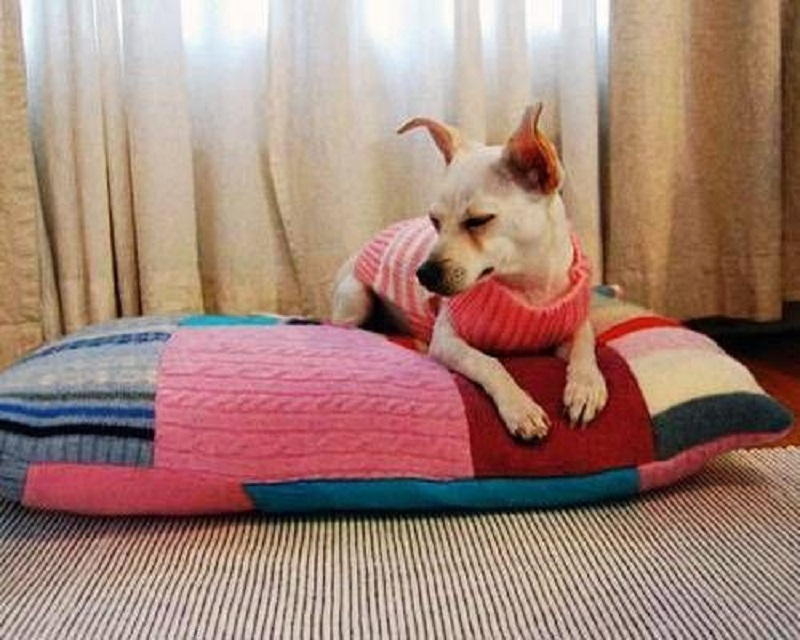 Patchwork sweater cushion