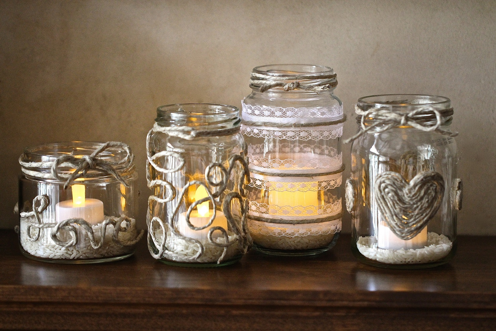 Patterned rope tea light jars