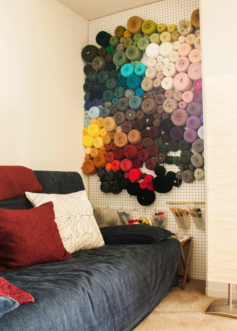 Peg board yarn wall