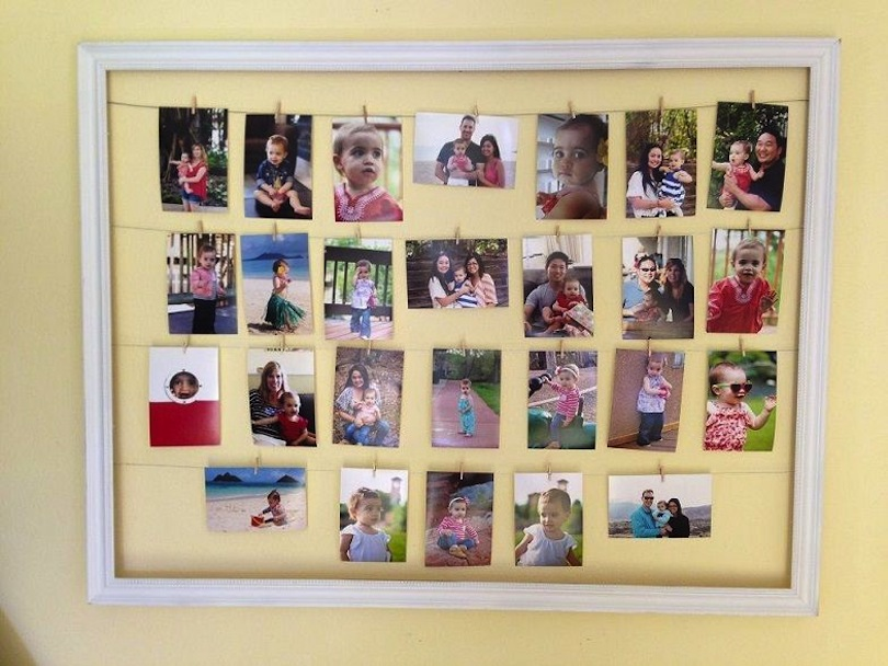 Photo clothesline in a frame