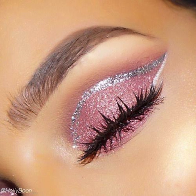 Pink glitter lid and a silver glitter crease