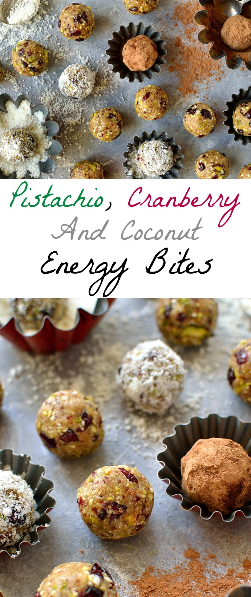 Pistachio, cranberry and coconut energy bites - easy to make energy bites that are high in protein and will keep you going!