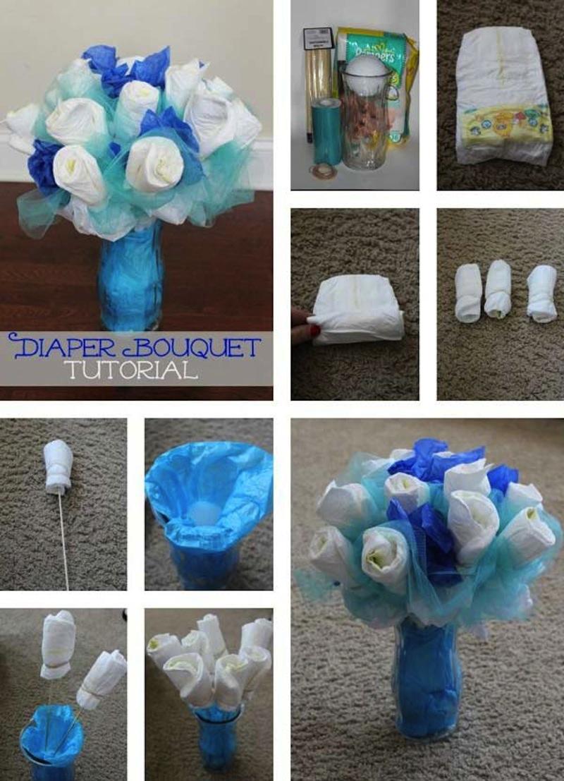 Pretty diaper bouquet