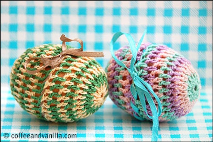 Pretty ribbon crochet easter eggs