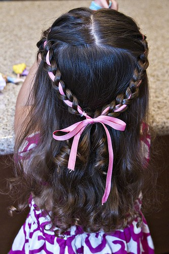 Princess braided brown toddler hair