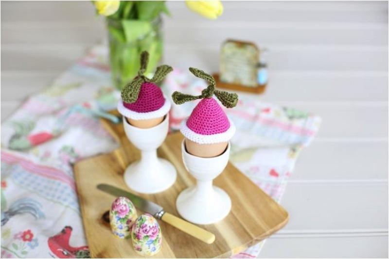 Radish egg cozies