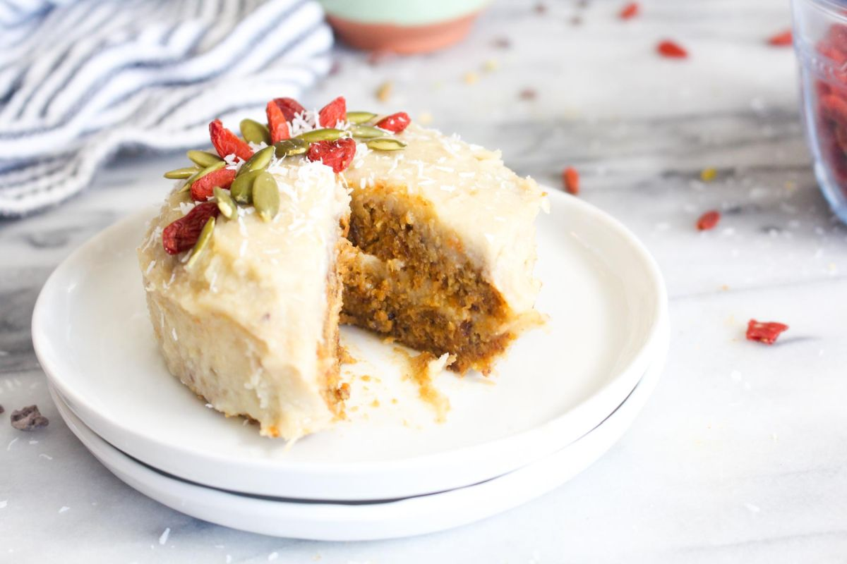Raw carrot cakes with cashew cream cheese frosting slice