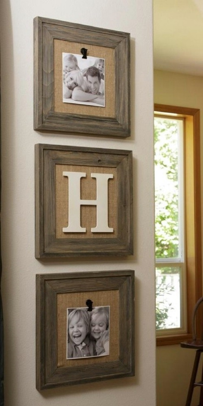 Reclaimed wood frames with burlap