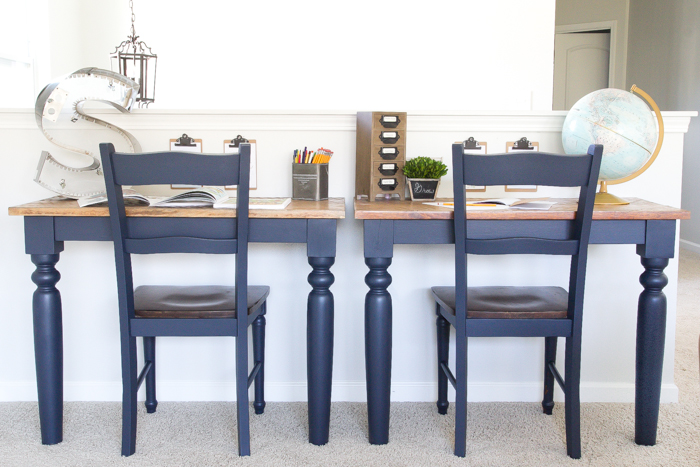 Repurposed kitchen table desks fusion midnight blue 1 of 3